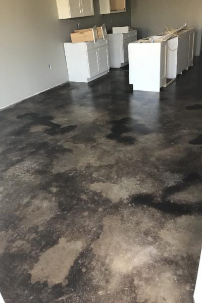 Concrete Basement Floor - Black Acid Stain