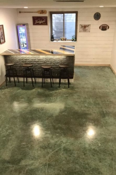 Concrete Basement Floor - Seagrass Acid Stain-