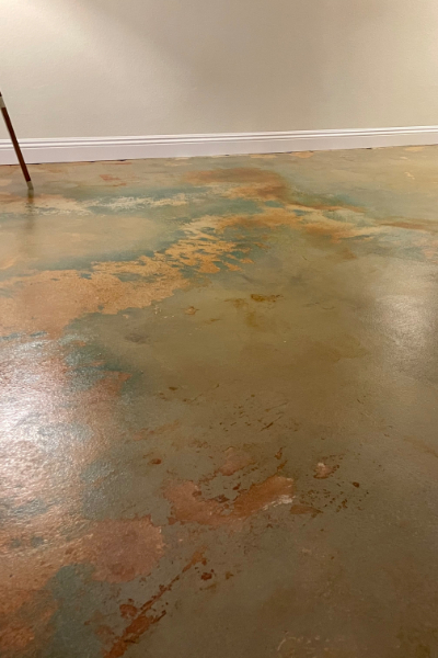 Concrete Basement Floor - Seagrass, Malayan Buff, Cola Acid Stains