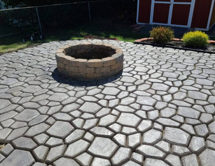 Light Charcoal Stained Patio Pavers Made with Quikrete Country Stone Walk Maker Mold & Fire Pit