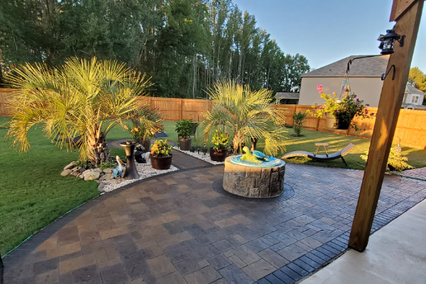 Patio Stamped Concrete - Antiquing Black, Aztec Brown Stains-