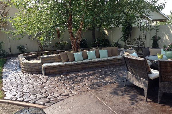 Patio Stamped Concrete - Antiquing Chocolate Stain