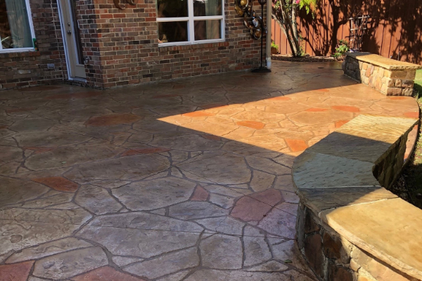 Patio Stamped Concrete - Antiquing Khaki, Cafe Royale, Terra Cotta Stains