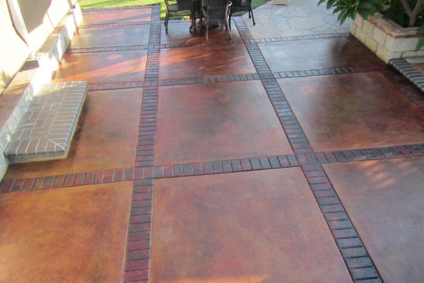 Patio Stamped Concrete - EverStain Cola, Vibrance Rust Dye Stains