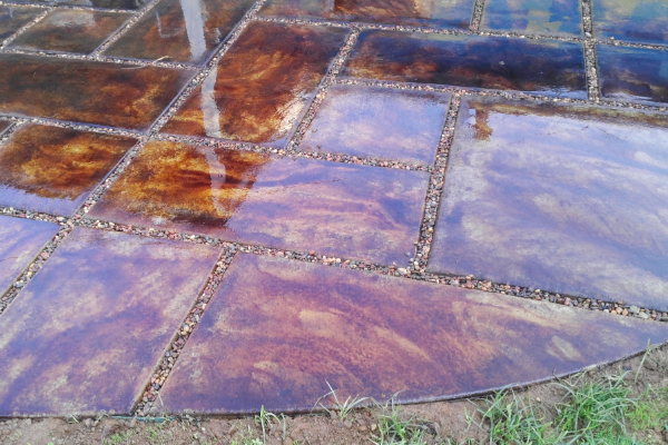 Patio Stamped Concrete - EverStain English Red Acid Stain