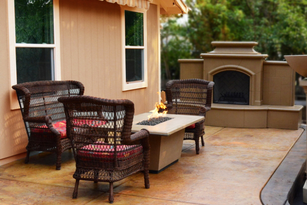 Patio Stamped Concrete - EverStain Malayan Buff, Coffee Brown, English Red, Desert Amber Acid Stain-