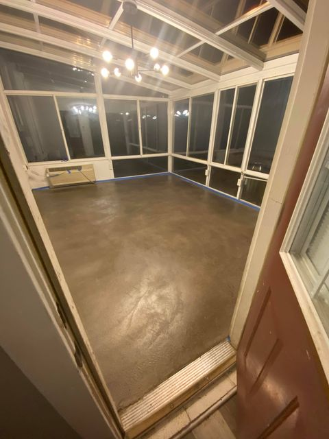 Stormy Gray Dye Stained Concrete Sunroom Floor
