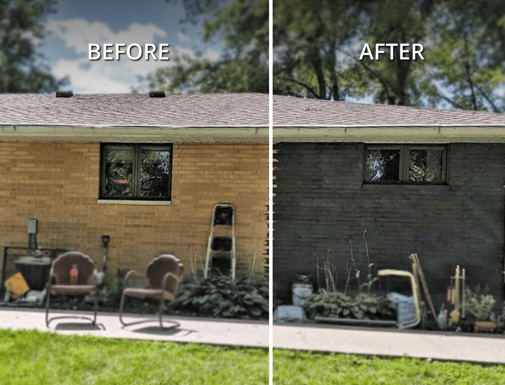 Lime Washing brick before and after