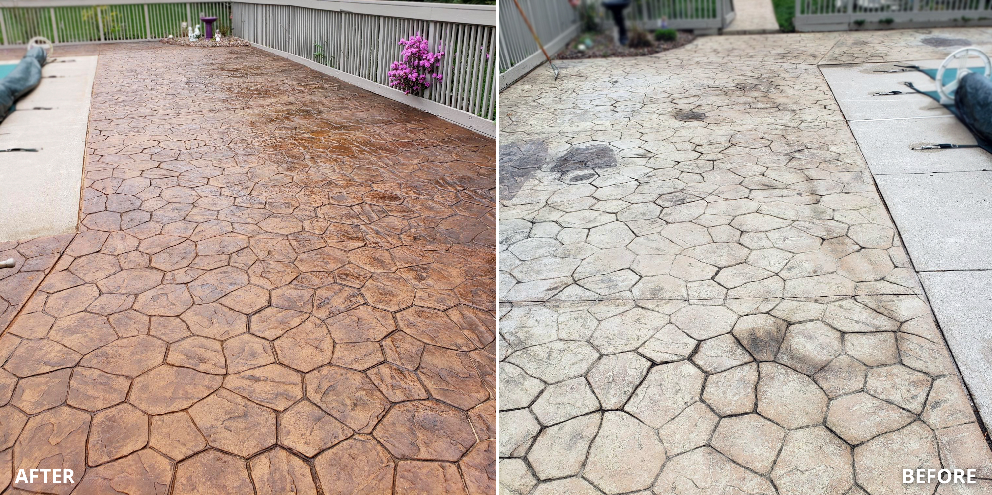 Stained Faded Stamped Pool Deck Before and After Photo
