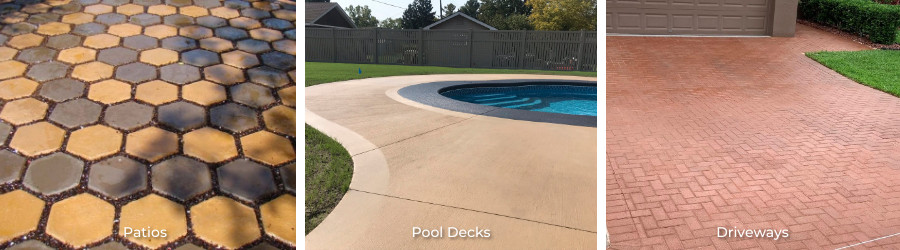 Concrete patio stained with colored concrete sealers